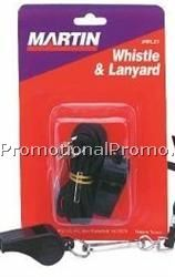 Small Black Plastic Whistle with Lanyard