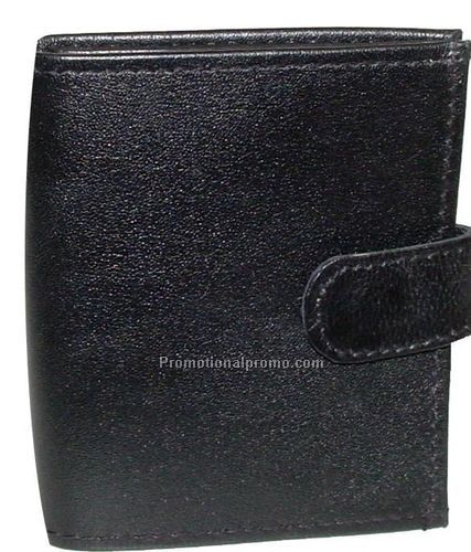 Multi-Section Credit Card Caddy with Flip-Out design / Lambskin Napa / Black