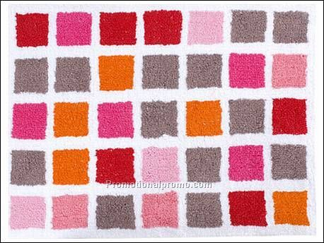 Bathroom  on Bath Mat Mosaic Cotton Red