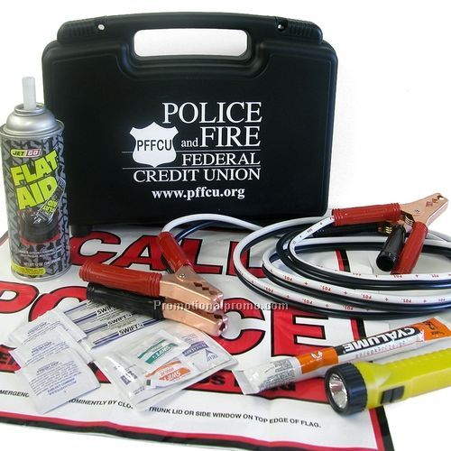 This Auto Emergency Kit contains: hard plastic case with jumper cables,