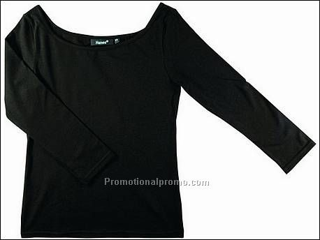 Hanes T-shirt Boat Neck BeauTy, Black