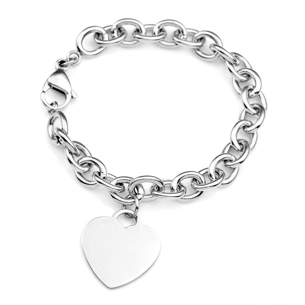 Cable Link Stainless Heart Charm Bracelets