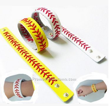 Hot Sale Genuine Leather Softball Bracelet for promotion