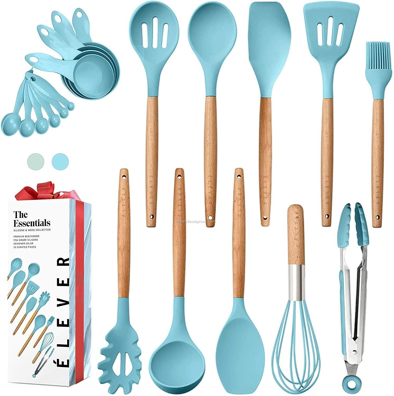 Kitchen Cooking Tools Silicone Utensils with Wooden Handle Multifunctional Kitchen Accessories