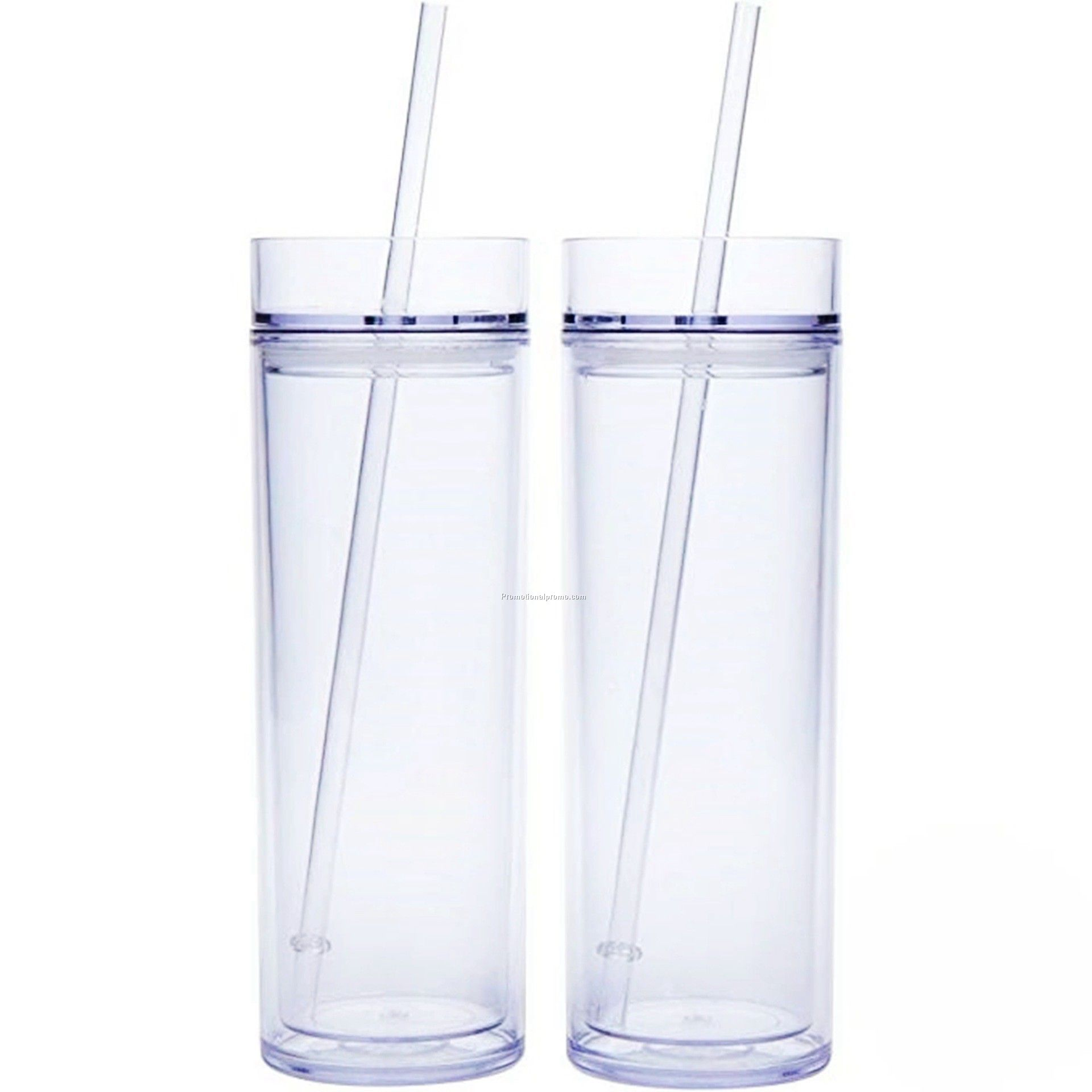Plastic Skinny Double-layer Plastic Frosted 16OZ Straight Body Cup with Straw