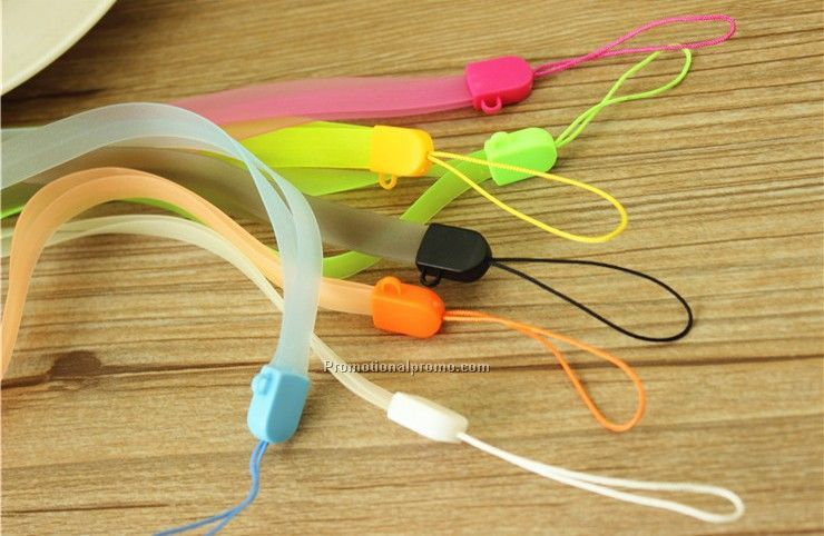 Luminous silicon lanyard for mobile phone
