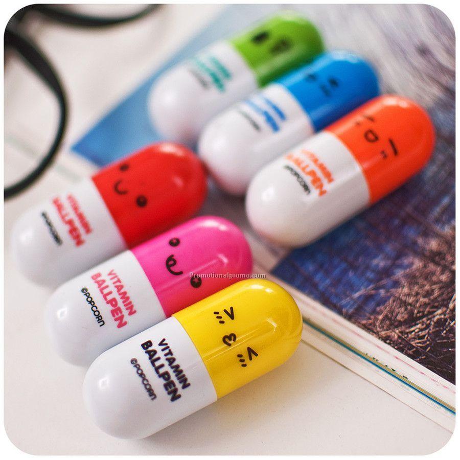Plastic pill shaped pen