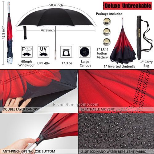 SOS Singal Flash light car safty inside out umbrella inverted , vehicle double layer reverse umbrella durable windproof