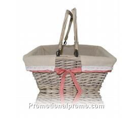 Handmade willow/wicker shopping fruit baskets with handle