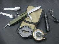 Camping tool set including compass,torch,multifunctional knife, spoon and fork