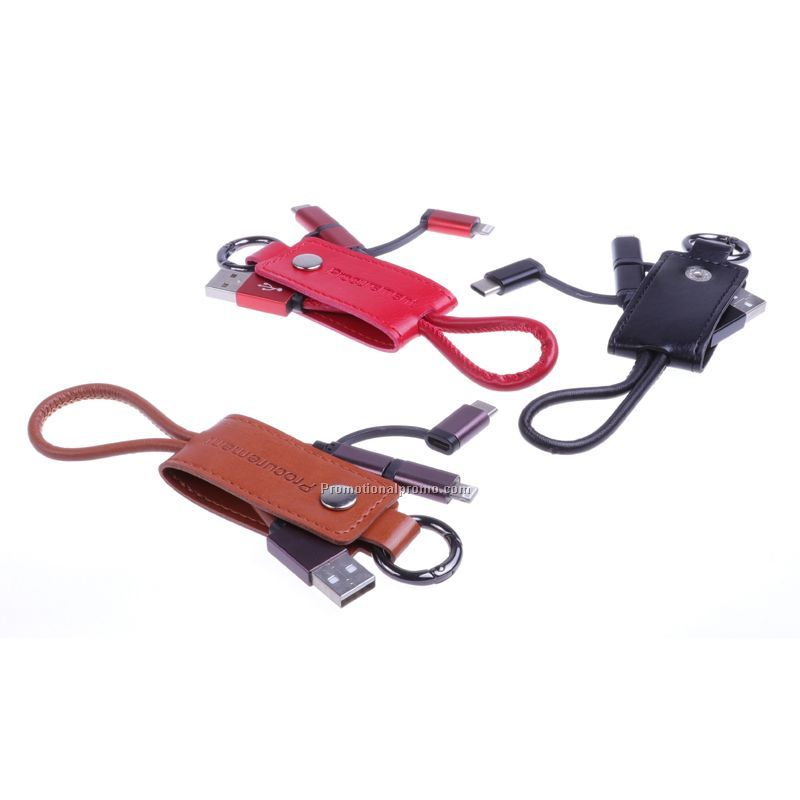 Leather USB 3 in 1 Charging cable keyring for iphone, android and type C