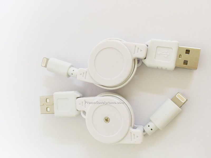 Promotional Plastic 2A Current USB Retractable Cable for phone 5, 5S,6