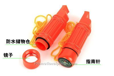 5 Function Survival Tool Whistle W/ Lanyard