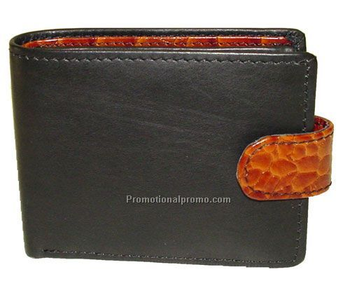 Men's Wallet / passcase / change Purse / Stone Wash Cowhide / Black & CROCO trim
