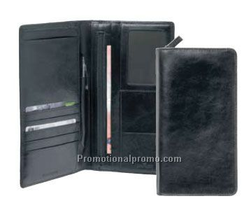 ZIP LEATHER PASSPORT WALLET