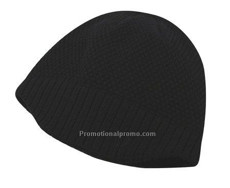 Tonal Checker Jacquard Beanie with Knit Brim