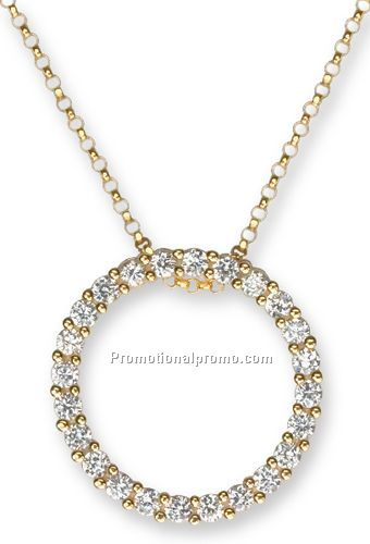Circle Necklace on 14k Yellow Gold  Circle Of Life  Pendant With Cz S On 18  Chain China