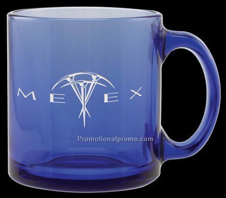 Glass Coffe Mug - 13 oz. Mediterranean Blue