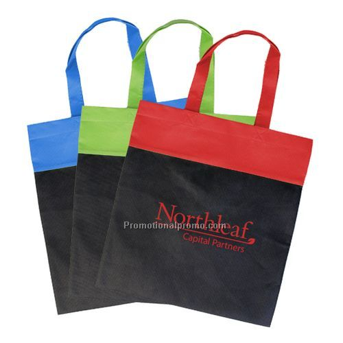 Non Woven Two-Tone Budget Tote - Royal/ Black