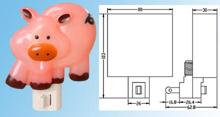 Nightlight with Plastic Shade pig lamp