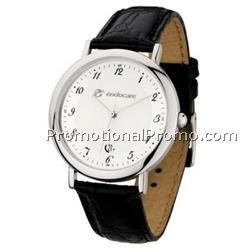 Watch Creations Ladies' Polished Silver Watch with Black Leather Strap