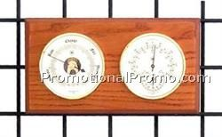 Brass Barometer, Thermometer & Hygrometer on Oak Base