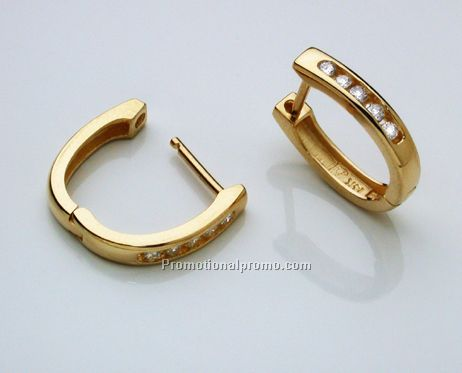 14k Yellow Gold Huggie Style Earrings With 9pts Of Diamonds