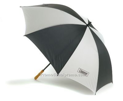 2-Tone Lightweight Umbrella - Black/Silver/Unprint