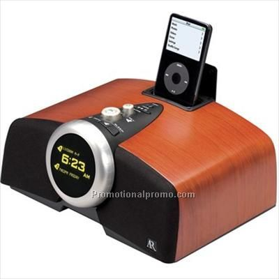 Acoustic Research Real Wood Clock Radio W/ IPod Dock
