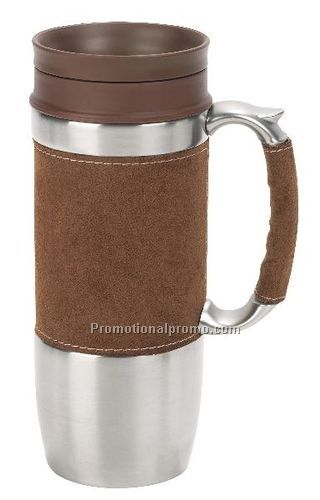 Boardroom Travel Mug,Stainless Steel and Faux Suede Chocolate, 16oz