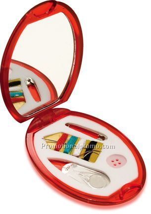 Compact Mirror w/ Sewing Kit