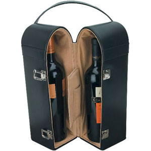 PORTELLI Leather 2-Bottle Wine Case