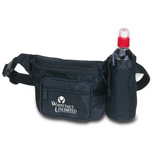 Water Bottle Fanny Pack - Three Pocket Fanny Pack with Bottle Holder