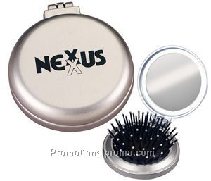 Compact Hairbrush with Mirror
