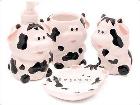 Bathroom Set Cow Ceramic