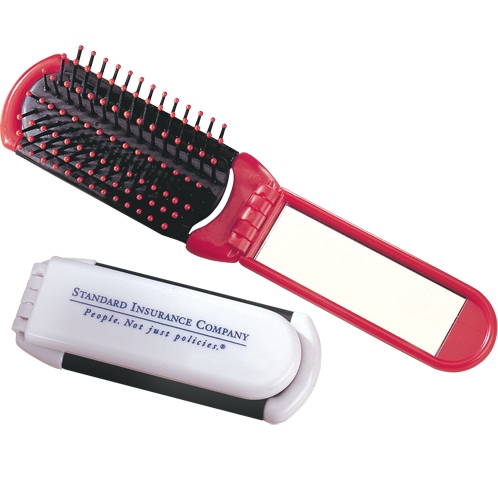 Folding brush/mirror