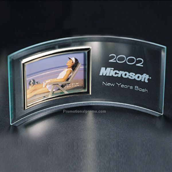 Glass Curve Award with Photo C-446