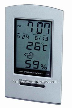 METAL WEATHER STATION ALARM CLOCK