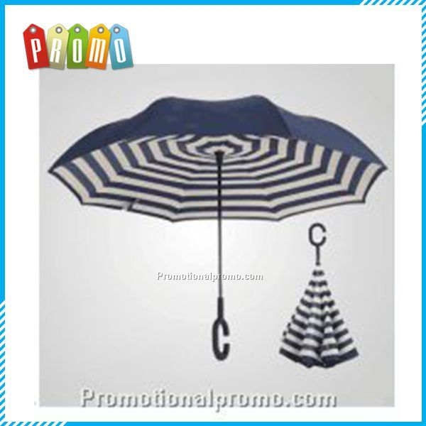 Double Layer Inverted Umbrella with C shape handle