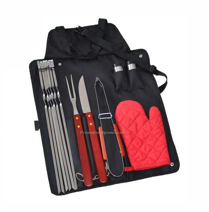 Wooden Handle Barbecue Apron Tool Set