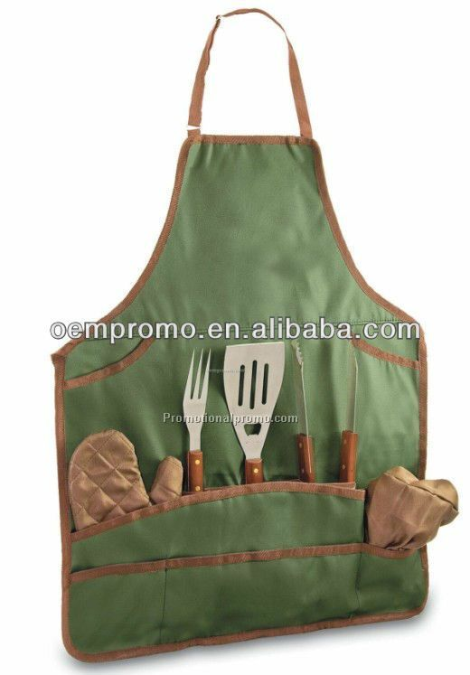 BBQ Apron Tote & Chef Hat With 3 Piece Stainless Steel BBQ Tool Set