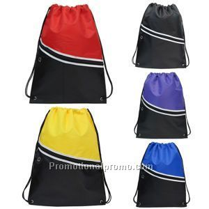 Promotional Gift our Striking colorful 210D Polyester drawstring backpack with large zipper front pocket with iPod and ear phone outlet