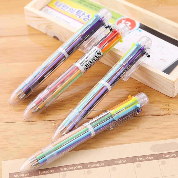 6 in 1 Colors Refill Ballpoint Pen, Promotional Plastic Pen