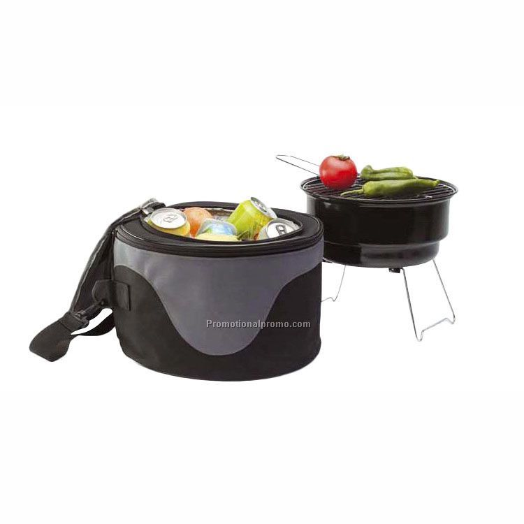 Picnic Charcoal Grill Set With Cooler Tote Bag