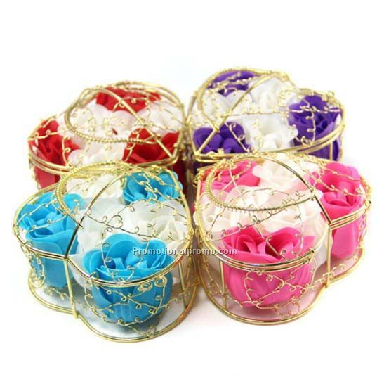 Delicate gift, 6 pieces high quality mixed color soap flower