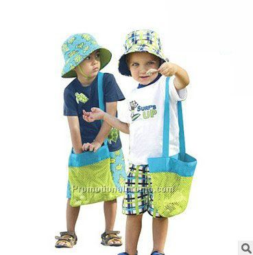 Small size sand away waterproof mesh beach bag for children