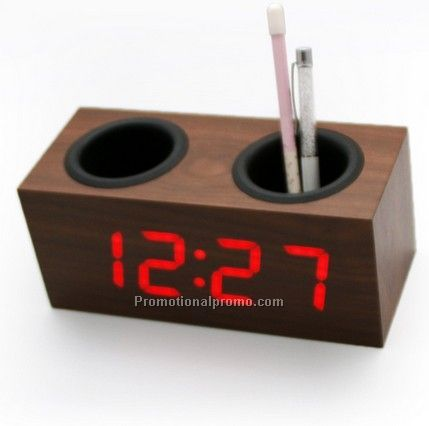 Multi-function Pen Container Wooden LED Desk Clock