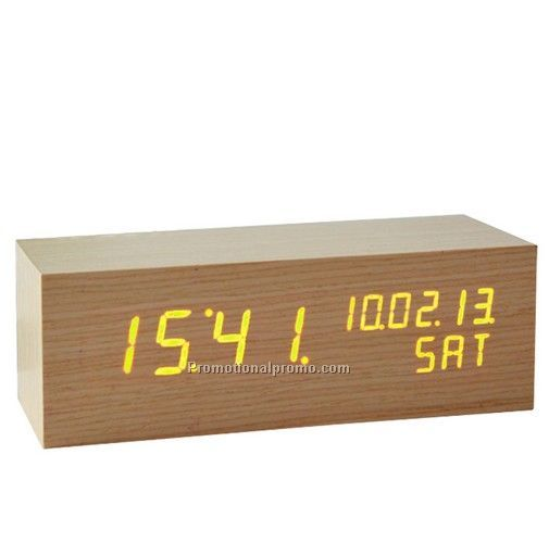 New Arrival Wood LED Calendar Clock