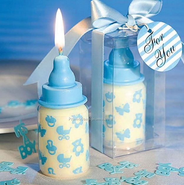 Baby Boy Milk Bottle Candle