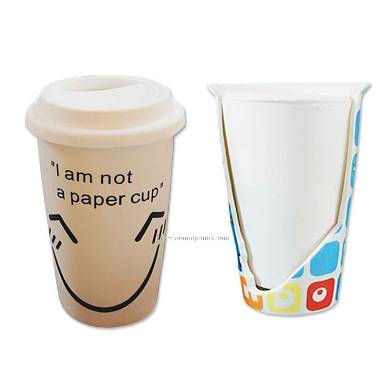 11 oz Double wall ceramic mug with silicone lid